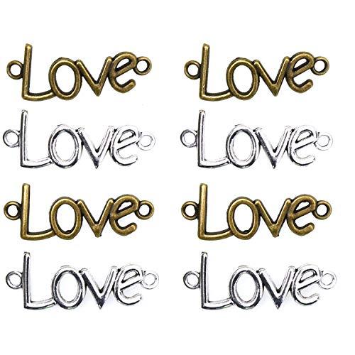 Monrocco 50 Pcs Love Letters Adjustable Rope Bracelet Charm Connector Link Sideways