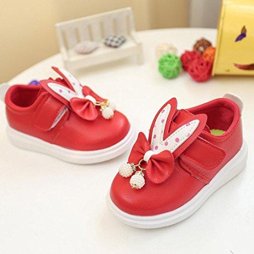 Tefamore Zapatos Zapatillas Bebe de Deporte del Otoño de la Primavera de los Niños Orejas de Conejo Corbata de Moño Rojo