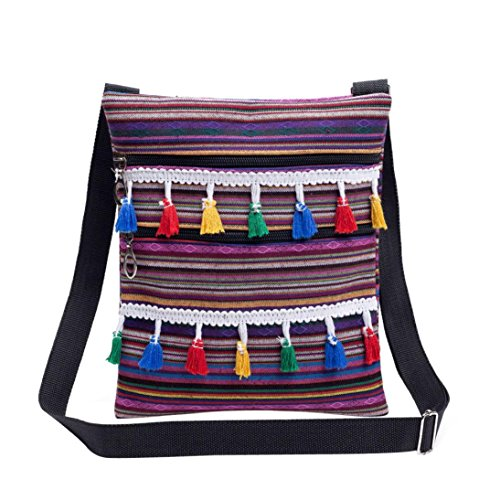 "Price comparison product image Shoulder Bag, Afterso Tassel Stripe Tote Women cross body bags Handbags Postman Package (24cm / 9.44"" H × 1cm / 0.39"" W × 20cm / 7.87"" L,  D - Tassel Stripe Shoulder Bag)"