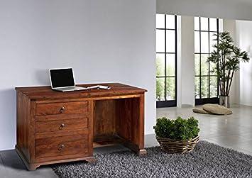 Bureau bois massif d acacia laqué nougat style colonial