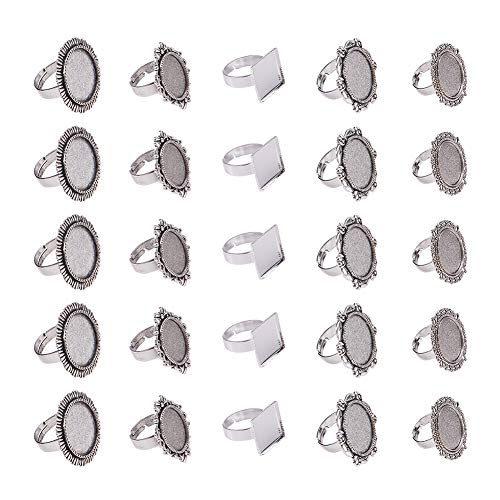Oval Ring Blank - PH PandaHall 50PCS Antique Silver Round Cabochon Rings Settings Finger Ring Components Iron Cabochon Bezel Settings Ring Making (5 Styles)
