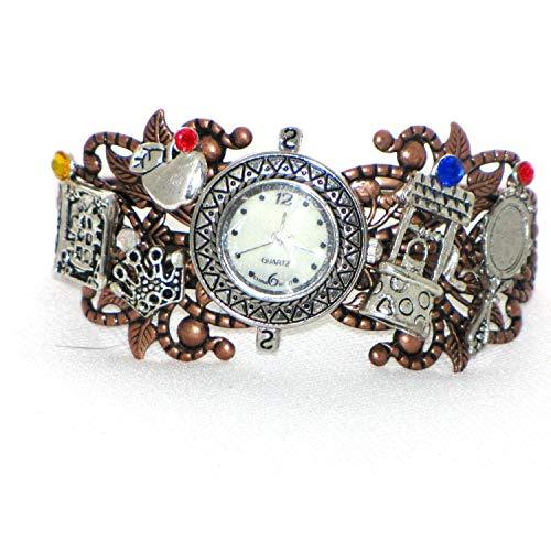 Snow White Steampunk Wristwatch Cuff Charm Bracelet Handmade ()