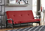 DHP Black Metal Arm Futon Frame with a 6 inch futon mattress, Converts from Couch to Full Size Sofa Bed - Red