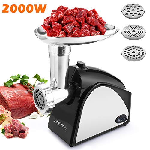 (Electric Meat Grinder 2000W, Food Meat Grinders with 3 Stainless Grinding Plates and Sausage Stuffing Tubes for Home Use &Commercial, Dishwasher safe)