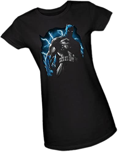 Batman T-Shirt Official Gotham City University Black Ladies Fitted Superhero Tee