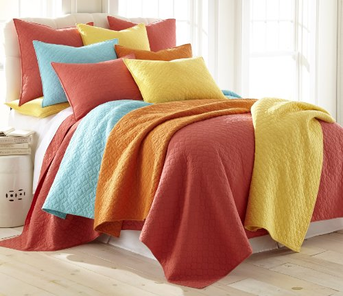Levtex Bordeaux Salmon King Cotton Quilt Set