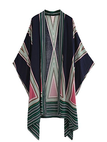 SweatyRocks Women Kimono Vintage Floral Beach Cover Up Multicolor #4 One Size - Multi Color Stitch