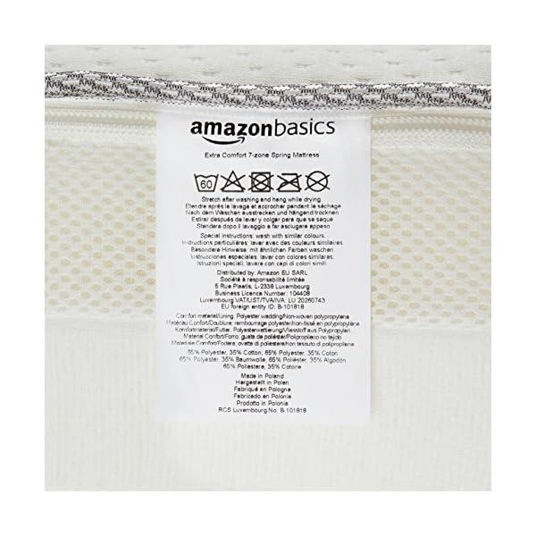 AmazonBasics - Materasso extra comfort a 7 zone a molle, Medio, 80 x 190 cm 5 spesavip