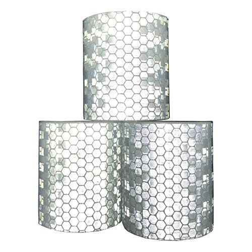Viewm Reflective Tape 3 Rolls Safety Warning Tapes 2 inch × 3.28 yard (Silver)