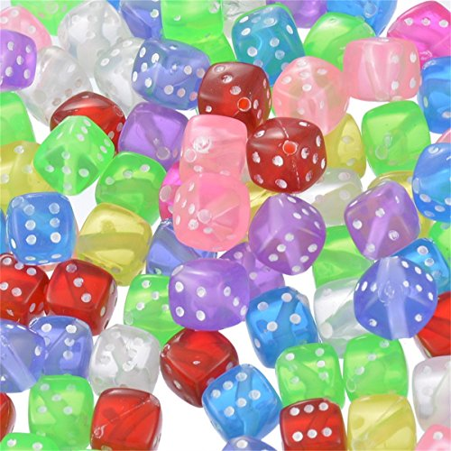 100pcs 8mmx8mm Mixed Transparent Acrylic Dice Beads Multicolor ()