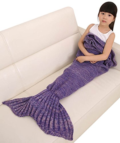 Bellady Girls Kids Knit Crochet Mermaid Tail Blanket Living Room Sleeping - On 5th Avenue Stores Best