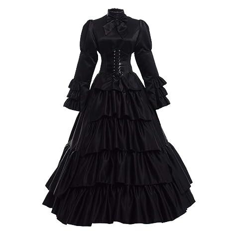 GRACEART Victoriano Gótico Disfraz de Reina Medieval Vestido de Fiesta Vestido de cóctel Vintage Vestido de Fiesta (XL, Negro)