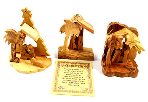 Bethlehem Olive Wood Christmas Nativity Ornaments set of 3 From Israel the Holy - Mall Bethlehem