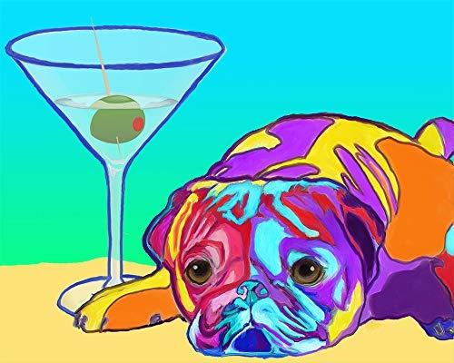 BLACK PUG MARTINI II dog pop art PRINT of Painting VERN
