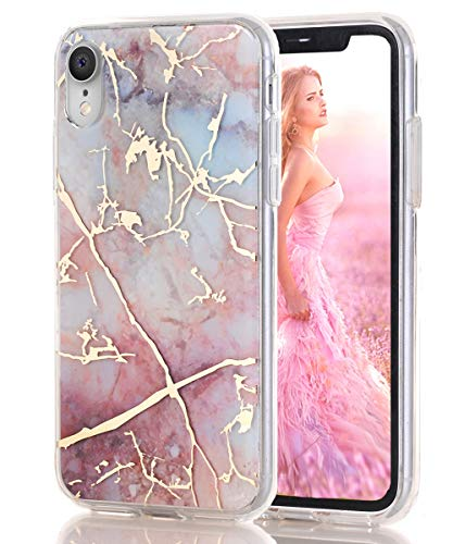 iPhone XR Case 2018,Spevert Marble Pattern Hybrid Hard Back Soft TPU Raised Edge Slim Protective Case Cover Compatible iPhone XR 6.1 inches 2018 - Pink
