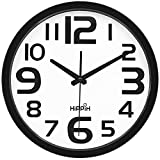 HIPPIH Large Silent Wall Clock - 12 inch Non-Ticking Universal Indoor Decorative Clocks for Office/Kitchen / Bedroom/Living Room