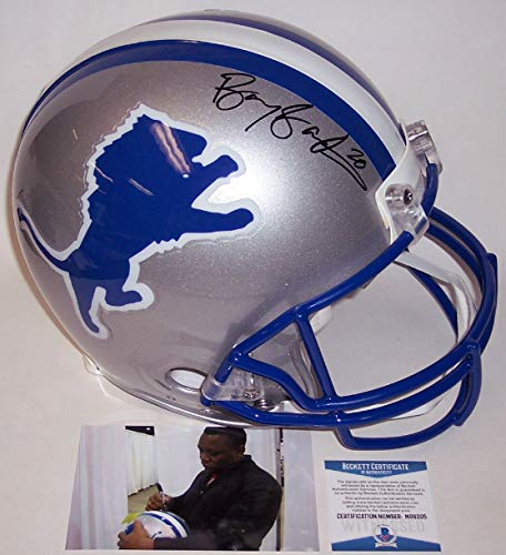 Barry Sanders Autographed Hand Signed Detroit Lions Full Size Authentic Pro Football Helmet - BAS Beckett