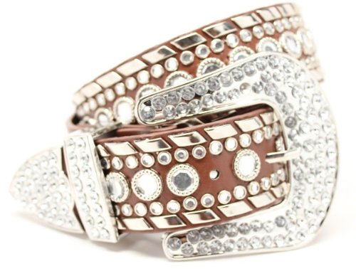 Deal Fashionista Women's Western Rhinestone Chrome Studded Rodeo Cowgirl Belt S Brown