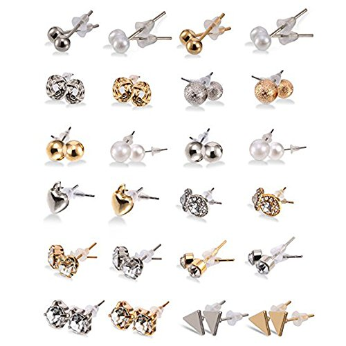 (24 Pairs Stud Earrings Crystal Pearl Earring Set Ear Stud Jewelry for Girls Women Men, Silver and Gold)