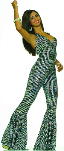 Forum Novelties Women's Boogie Dancing Babe 70's Costume, Silver/Black, (Seventies Costume Patterns)