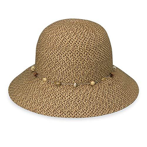 Wallaroo Women's Naomi Sun Hat - Natural Woven Fibers - UPF50+, Mixed Brown