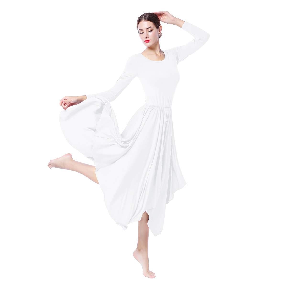 Vestito Donna Liturgico Manica Lunga Asimmetrico Abito da Balletto Ginnastica Classico Danza Combinazione Costume Casual Cocktail Maxi Abito Inverno Swing Latino lirica Abiti Tunica Vestire