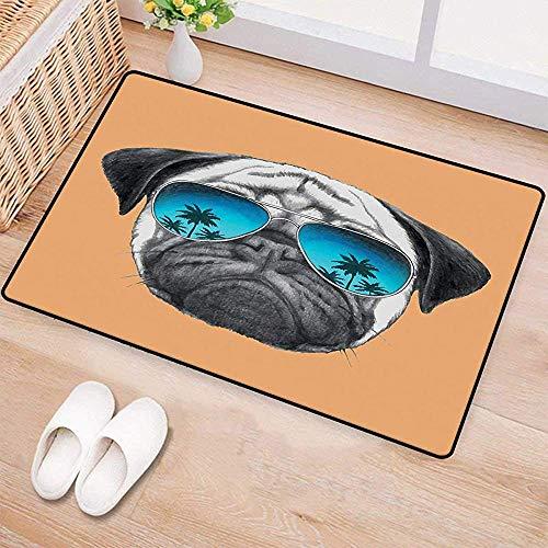 YGUII Pug,Doormat,Dog with Reflecting Aviators Palm Trees Tropical Environment Cool Pet Animal,Bath Mats Carpet,Black Orange Blue 16X23.6in (40x60cm)