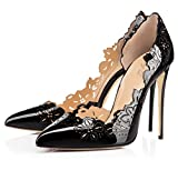 XUEXUE Women's Shoes Leather Spring/Summer Hollow-out Pointed Shoes Heels Stiletto Heel Wedding/Party & Evening/Dress Formal Business Work (Color : B, Size : 36)