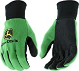 John Deere JD00002 Knit Polyester/Cotton All Purpose Work Gloves with Dotted Palms: Green, One Size Fits Most, 1 Pair