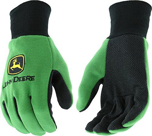West Chester John Deere JD00002 Knit Polyester/Cotton All Purpose Work Gloves with Dotted Palms: Green, Youth, 1 -