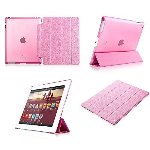 Super Slim Smart Leather Cover Case for Apple iPad Air 2 (Hot Pink) - 3