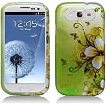 Boundle Accessory for (Verizon, Sprint, T-Mobile, US Celluar, AT&T) Samsung Galaxy S III I9300 - Green Butterfly Flower Hard Case Protector Cover + Lf Stylus Pen + LF Screen Wiper