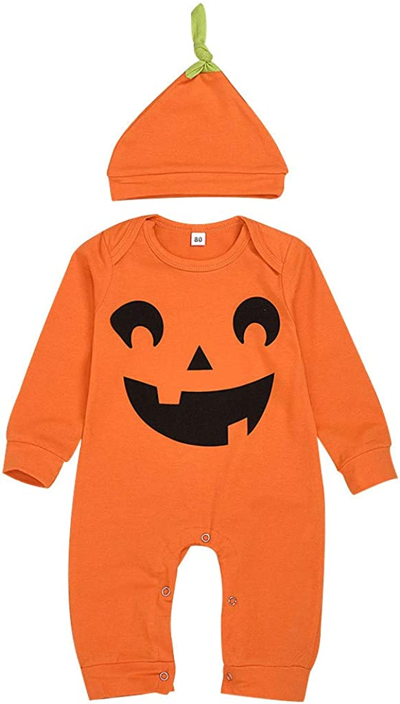 Amaone Infant Newborn Halloween Costume 0-3 Years Girl Boy Baby Pumpkin Jumpsuits Tops with Stripe Hat Hat