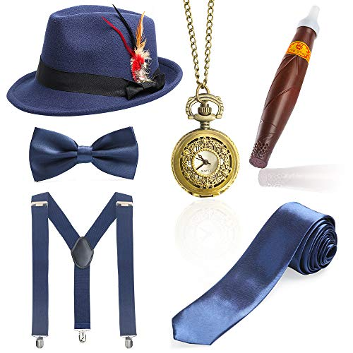 Beelittle 1920s Mens Gatsby Accessory Set Trilby Manhattan Fedora Hat, Y-Back Suspenders, Gangster Ties (N) -