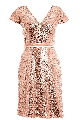 MACloth Elegant Cap Sleeve Sequin Bridesmiad Dress Cocktail Party Formal Gown Rose Gold
