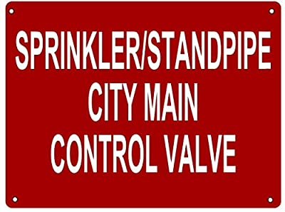 Aluminum Sprinkler/Standpipe City Main Control Valve Sign in (WHITE 12X16 ALUMINIUM ) from BUILDINGSIGNS.COM