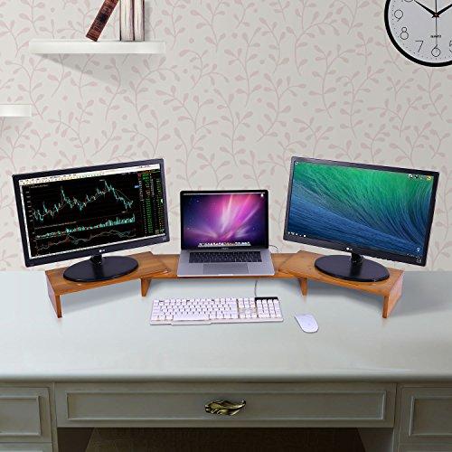 Triple Monitor Stand Riser Desktop 3 Shelf Bamboo Wood Computer Riser Screen Holder with Adjustable Lenth Angle Corner Dual PC Shelf Desktop Organizer with Keyboard Storage (42-50 inch) by Ufine (Image #6)
