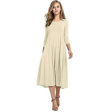 35a5e555331 neudas Women Fashion Casual Solid O-Neck Three-Quarter Sleeve Swing T-Shirt