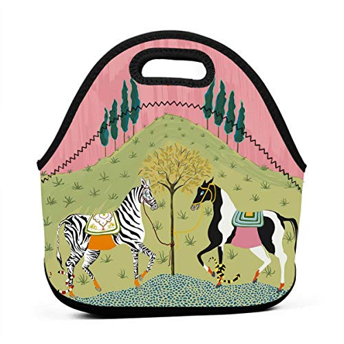 Fashion.Reborn Neoprene Lunch Bags,Horse Lunch Bag for Kids Women and Men,School Picnic Work Lunch Bags,Thermal Cooler Lunch Pouch with Portable Carrying