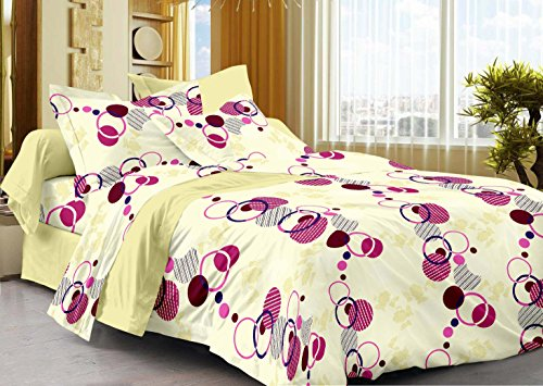 Story@Home 208 TC 100% Cotton Cream 1 Single Bedsheet with 1 Pillow Cover