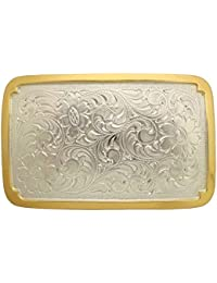 Engraved Triple Hearts Gold Sterling Silver Plated Ladies/' Western Belt Buckle