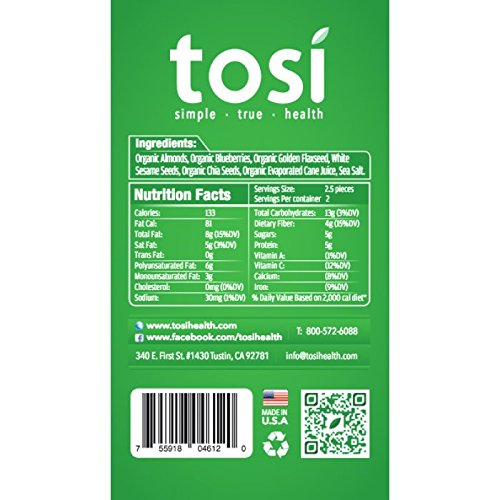 Tosi SuperBites Blueberry Almond, 2.6 oz Bar, 12 Count Pack/Vegan, Plant-Based, Gluten Free, Omega 3's and Fiber by Tosi Health (Image #3)