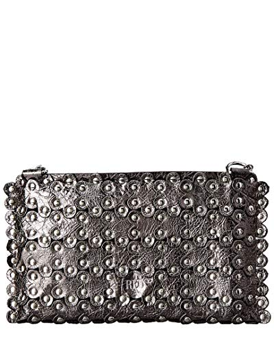 Red Flower Valentino Grey Clutch Puzzle Leather rUrnZqH