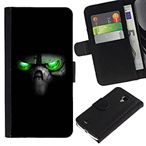 Estuche de Cuero Billetera del tirón Tarjeta de la Bolsa Titular de Suave Caso para Samsung Galaxy S4 Mini i9190 MINI VERSION! / CECELL Phone case / / Green Eyes Skull /