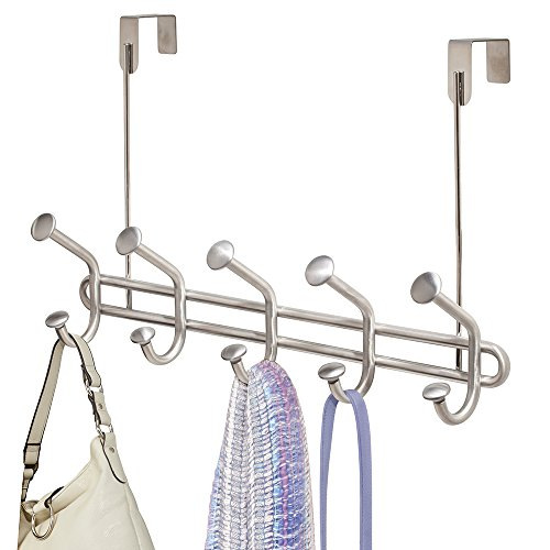 mDesign Over The Door 10-Hook Rack for Coats, Hats, Robes, Towels - Brushed Stainless Steel