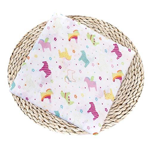 - Newborn Baby Muslin Swaddle Blanket Soft Cotton Bath Towel Bedding Blanket Infant Swaddling Wrap for Boys Girls (Color : Color Horse, Size : One Size)