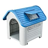"""SENYEPETS Plastic Dog Houses for Medium Dogs – 35"""" Waterproof Luxurious roof Skylight (Blue) Review"""