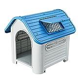 "SENYEPETS Plastic Dog Houses for Medium Dogs – 35"" Waterproof Luxurious roof Skylight (Blue)"