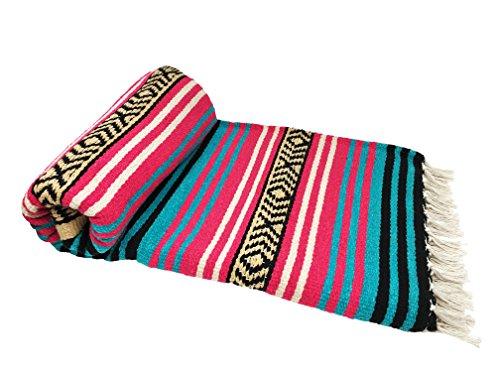 Spirit Quest Supplies Bodhi Blanket Mexican Style Throw Blanket - Falsa Blanket for Yoga, Picnics, Beach, Tapestry, Camping, More (Desert Flower: Magenta Pink, Green-Teal, White, Black, Tan)