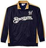 MLB Milwaukee Brewers Men's Tricot Poly Track Jacket, 3X, Navy/Vegas
